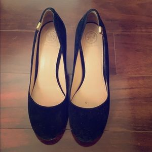 Tory Burch suede chunky pumps